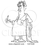 1237630-Clipart-Of-A-Black-And-White-Fat-Woman-In-Curlers-And-A-Robe-Smoking-A-Cigarette-And-Holding-Coffee-Royalty-Free-Vector-Illustration